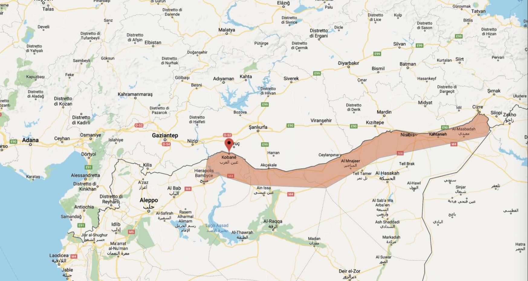 parte del kurdistan afferente al nord della Siria che la Turchia vuole annettere